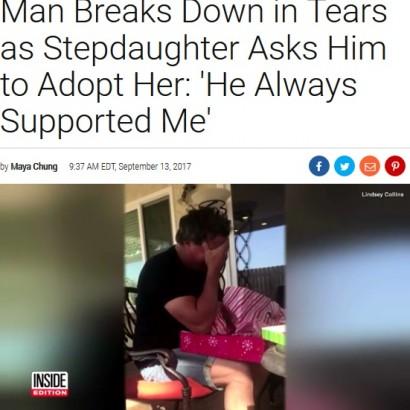 【海外発!Breaking News】26歳娘に養子縁組申請書をサプライズで渡されて 継父が号泣(米)<動画あり>