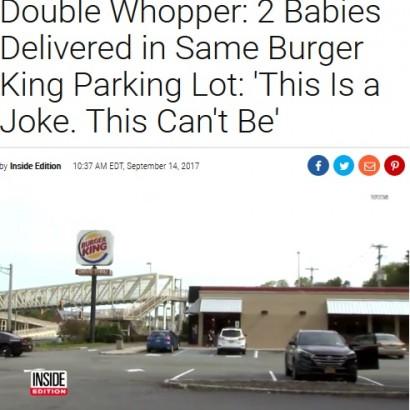 【海外発!Breaking News】バーガーキングの同じ駐車場で、赤ちゃんが1日違いで誕生(米)