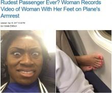 【海外発!Breaking News】機内で後ろの席から突き出た足 米女性の投稿が話題に<動画あり>