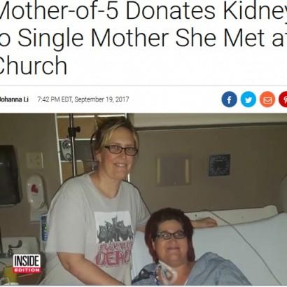 【海外発!Breaking News】5児の母、教会で出会っただけのシングルマザーに腎臓を提供(米)