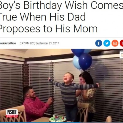 【海外発!Breaking News】誕生日にパパがママにプロポーズ 7歳の少年に二つの喜び!(米)<動画あり>