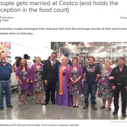 【海外発!Breaking News】大好きなコストコで挙式をしたカップル フードコートが披露宴会場に(豪)