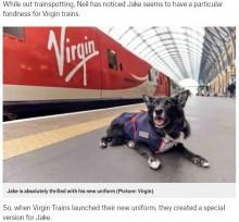 【海外発!Breaking News】電車が大好き! 14歳の老犬に鉄道会社が制服をプレゼント(英)