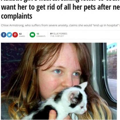 【海外発!Breaking News】近所からの苦情でペットを奪われかねない12歳自閉症少女、協議会に懇願(スコットランド)