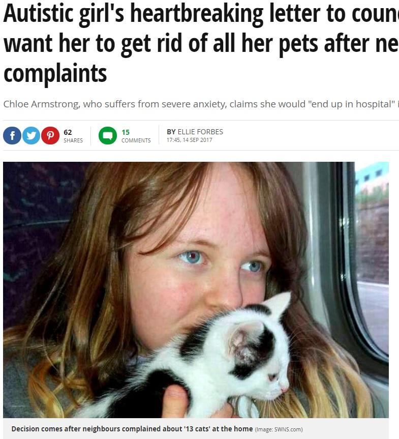自閉症の少女からペットは取り上げられてしまうのか?(画像は『Mirror 2017年9月14日付「Autistic girl's heartbreaking letter to council bosses who want her to get rid of all her pets after neighbours' complaints」(Image: SWNS.com)』のスクリーンショット)