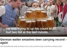 【海外発!Breaking News】独・名物オクトーバーフェスト『ビール運び世界一』また新記録 29杯を軽々と