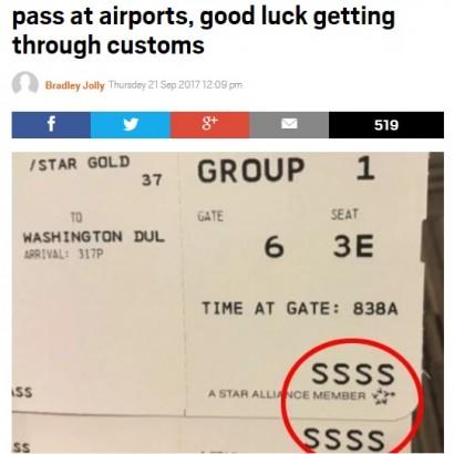 【海外発!Breaking News】空港で手にした搭乗券に「SSSS」の文字があったら、アナタを待っているものは…!?(米)