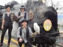 『ハリポタ』登場のシロフクロウも参加 フクロウと一緒にSLに乗る「SL幸福のフクロウ号」運行