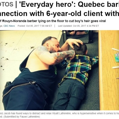 【海外発!Breaking News】自閉症少年のために、同じ姿勢になって髪を切る理容師(カナダ)