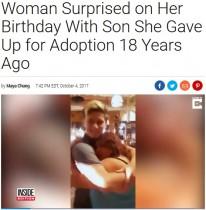 【海外発!Breaking News】誕生日に感動のサプライズ 18年前養子に出した息子と再会した女性(米)<動画あり>