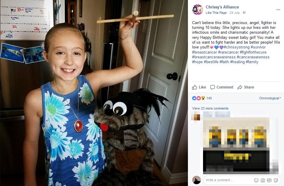 現在10歳になった少女、他のがん患者をインスパイア(画像は『Chrissy's Alliance 2017年7月24日付Facebook「Can't believe this little, precious, angel, fighter is turning 10 today.」』のスクリーンショット)