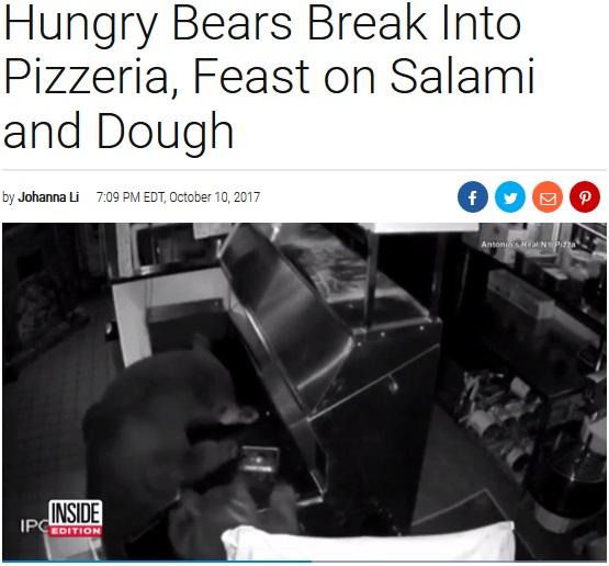 ピザ店でご馳走にありつくクマの母子(画像は『Inside Edition 2017年10月10日付「Hungry Bears Break Into Pizzeria, Feast on Salami and Dough」』のスクリーンショット)