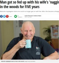 【海外発!Breaking News】支配欲の強い妻にうんざりし、5年間森の中で暮らした男性(英)