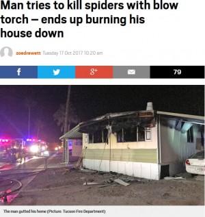 【海外発!Breaking News】クモ退治にプロパンバーナーを使った男性、自宅が燃える(米)<動画あり>