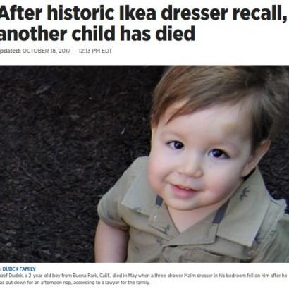 【海外発!Breaking News】8人目の犠牲者 IKEA家具の下敷きになり2歳男児が死亡(米)