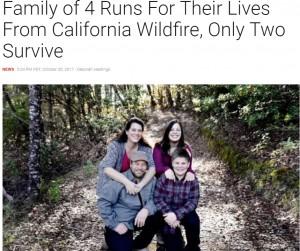 【海外発!Breaking News】米カリフォルニア州の山火事から逃げた家族4人 助かった両親は我が子の死を知らず