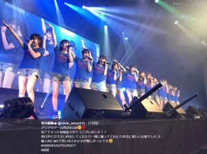 NMB48台湾公演でのステージ(画像は『市川美織 2017年10月2日付Twitter「アジアツアー台湾2回公演」』のスクリーンショット)