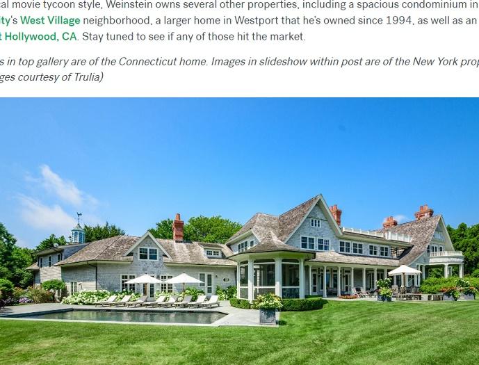 ハーヴェイ・ワインスタイン不動産を次々と売却(画像は『Trulia 2017年10月11日付「Harvey Weinstein Sells His Connecticut Home And Lists Hamptons Estate」』のスクリーンショット)