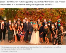 【海外発!Breaking News】山火事で結婚式場が閉鎖も、周囲の協力で挙式したカップル(米)