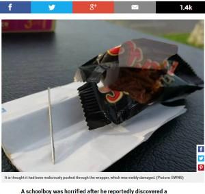 【海外発!Breaking News】ハロウィンで貰ったチョコレートバーに、5センチの針が混入(英)