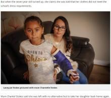 【海外発!Breaking News】ギプス装着の娘にTシャツを着せて登校させた母、学校から服装規定に反すると言われ激怒(英)