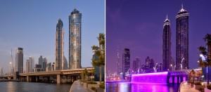 マリオット・マーキス・ドバイ昼夜の姿 画像提供:(c)JW Marriott Marquis Hotel Dubai