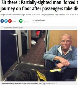 【海外発!Breaking News】盲導犬を連れた視覚障がいの男性、車内通路に座らされ激怒「何のための優先席か」(英)