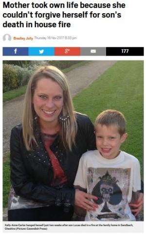 【海外発!Breaking News】二重の悲劇 火事で焼死した息子、救えなかった母親が自ら命を絶つ(英)