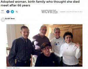 【海外発!Breaking News】養子に出された女性、66歳で実のきょうだい4人と初めて会う(米)<動画あり>
