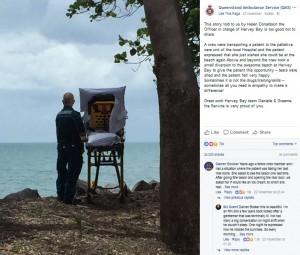 【海外発!Breaking News】救急隊員、余命僅かの女性の最期の願いを叶えるためビーチへ(豪)