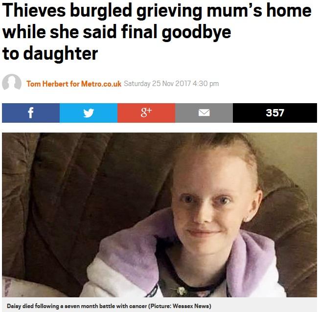 亡くなった娘のラップトップPCが盗難被害に(画像は『Metro 2017年11月25日付「Thieves burgled grieving mum's home while she said final goodbye to daughter」(Picture: Wessex News)』のスクリーンショット)