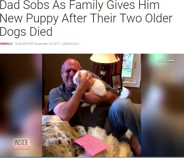 愛犬を亡くした父に家族が子犬をプレゼント(画像は『Inside Edition 2017年11月12日付「Dad Sobs As Family Gives Him New Puppy After Their Two Older Dogs Died」』のスクリーンショット)