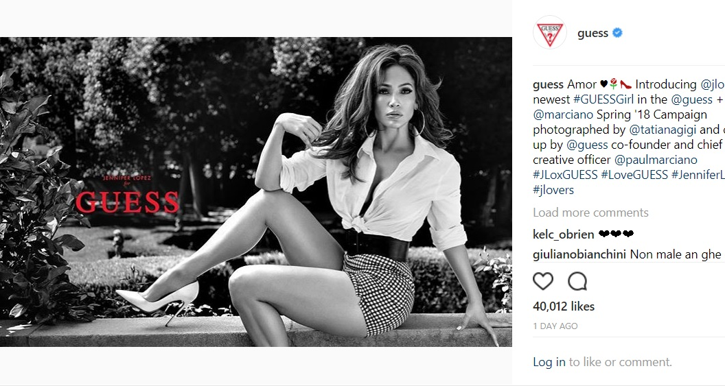 ジェニファーが『GUESS』キャンペーンモデルに(画像は『GUESS 2017年11月27日付Instagram「Amor Introducing @jlo as the newest #GUESSGirl in the @guess + @marciano Spring '18 Campaign photographed by @tatianagigi」』のスクリーンショット)