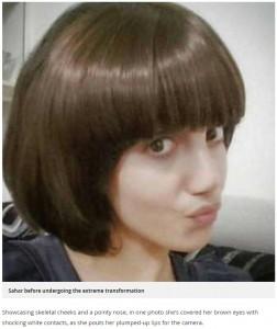 整形前のサハルさん(画像は『Mirror 2017年11月30日付「Iranian teen 'undergoes FIFTY surgeries'and drops to 40kg in catastrophic bid to look like Angelina Jolie」』のスクリーンショット)