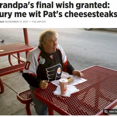 【海外発!Breaking News】口癖は「あの世に持って行きたい」 大好物のステーキサンドと共に埋葬された男性(米)
