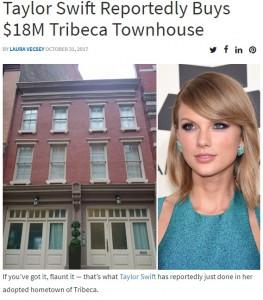 テイラー・スウィフト20億円でマンハッタンのタウンハウスを購入か(画像は『StreetEasy 2017年10月31日付「Taylor Swift Reportedly Buys $18M Tribeca Townhouse」』のスクリーンショット)