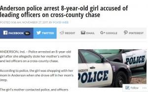 【海外発!Breaking News】8歳女児、母親のジープを盗んで幹線道路へ パトカーとカーチェイス!
