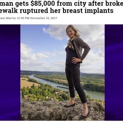 【海外発!Breaking News】歩道の段差で転倒「豊胸インプラントが崩れた」 市を訴えた70歳女性が勝訴 市に約964万円の支払い命令(米)