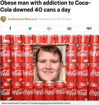 【海外発!Breaking News】一日40本コカ・コーラを飲んでいた男性、約70kgの減量に成功(英)