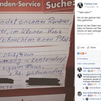 【海外発!Breaking News】クリスマスを孤独に迎える高齢者男性 スーパーに貼り紙をしたところ思わぬ反響が(独)