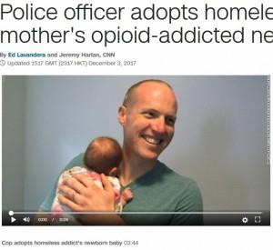 【海外発!Breaking News】警察官、重度の薬物中毒者から産まれた赤ん坊を養子にする(米)<動画あり>