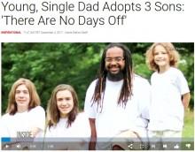 【海外発!Breaking News】黒人男性、白人の子3人を養子にしシングルファーザーに(米)<動画あり>