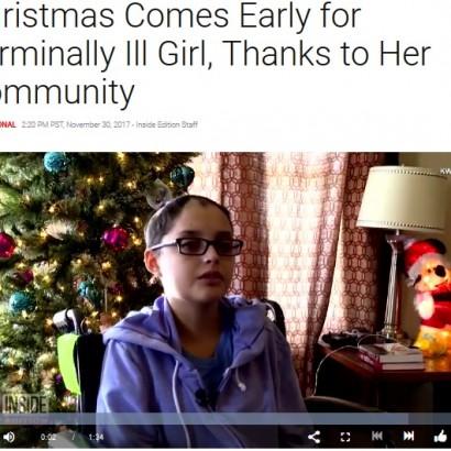 【海外発!Breaking News】末期がん16歳少女のために、慈善団体と地域住民らが早めのクリスマス準備(米)<動画あり>