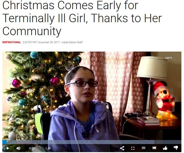 「みなさん、ありがとう」感謝の言葉を述べた少女(画像は『Inside Edition 2017年11月30日付「Christmas Comes Early for Terminally Ill Girl, Thanks to Her Community」』のスクリーンショット)