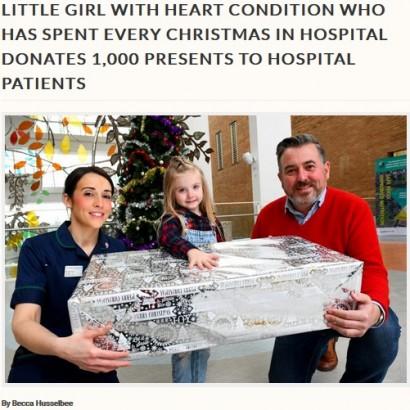 【海外発!Breaking News】クリスマスを病室で過ごしてきた4歳女児、今年はサンタになって病院へ(英)