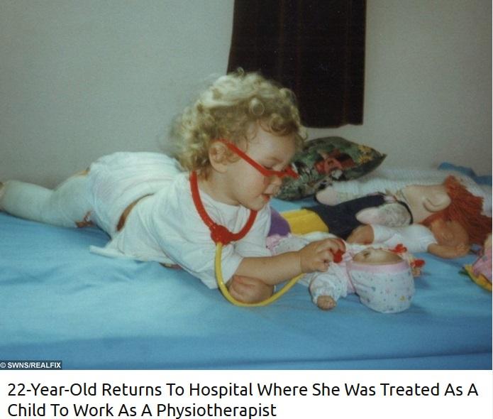 治療を受けていた頃のローレンさん(画像は『real fix 2017年12月5日付「22-Year-Old Returns To Hospital Where She Was Treated As A Child To Work As A Physiotherapist」』のスクリーンショット)