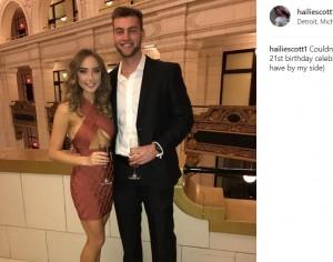 昨年の誕生日には彼氏も紹介(画像は『Hailie Scott 2016年12月29日付Instagram「Couldn't have asked for a better 21st birthday celebration (or a better guy to have by my side)」』のスクリーンショット)