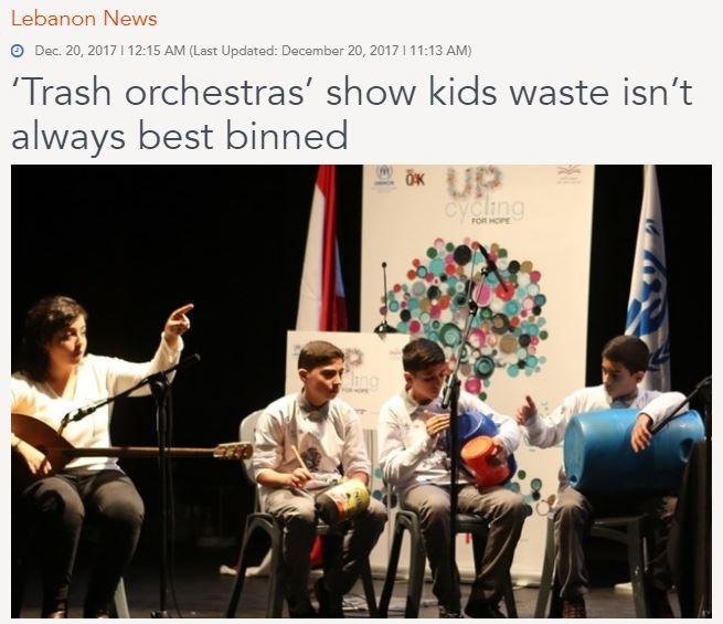 ゴミ製の楽器を演奏する子供達(画像は『The Daily Star 2017年12月20日付「'Trash orchestras' show kids waste isn't always best binned」』のスクリーンショット)