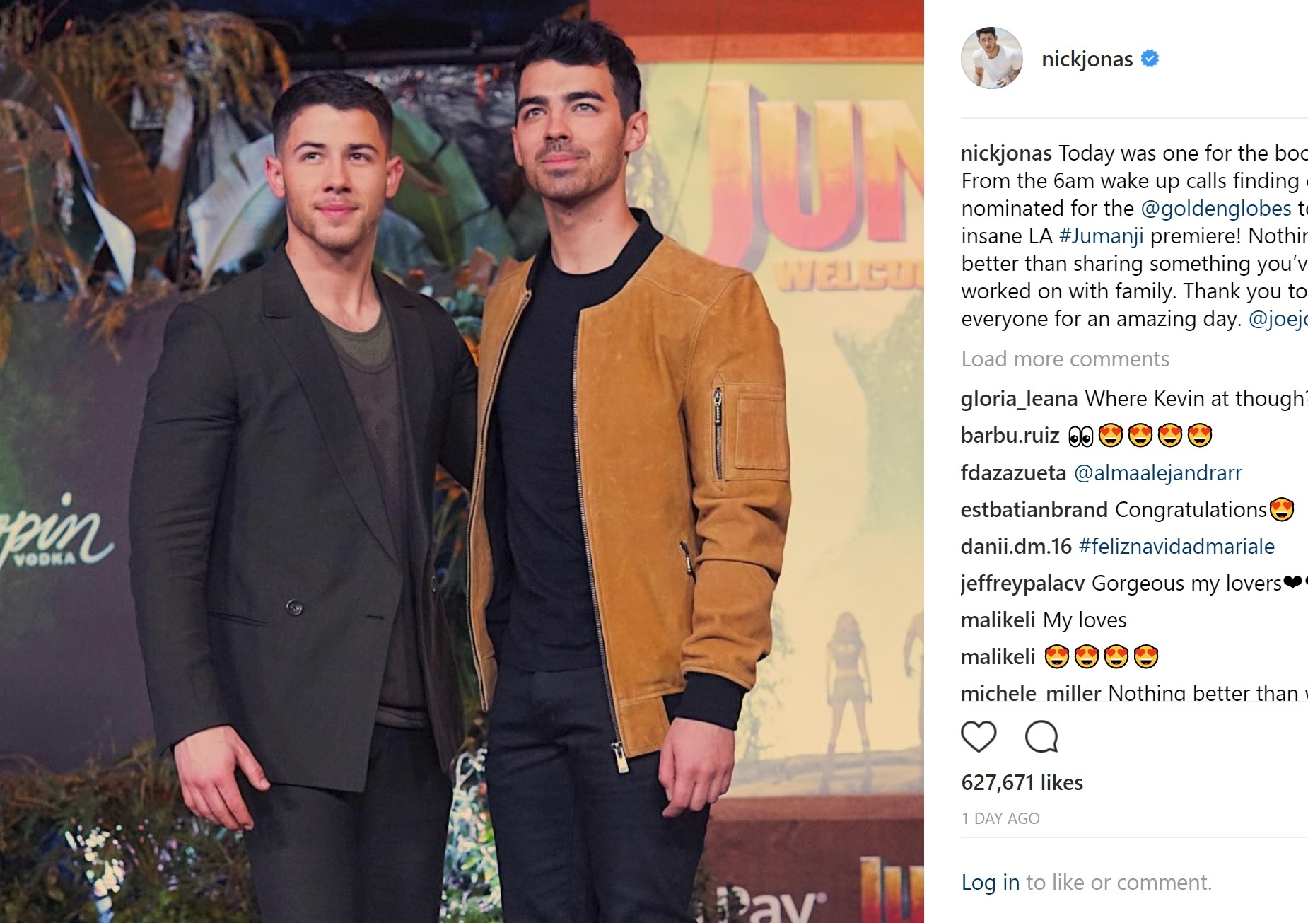 『Jumaniji:Welcome To The Jungle』プレミアにて、兄のジョーとニック(画像は『Nick Jonas 2017年12月12日付Instagram「Today was one for the books... From the 6am wake up calls finding out I'm nominated for the @goldenglobes to the insane LA #Jumanji premiere!」』のスクリーンショット)