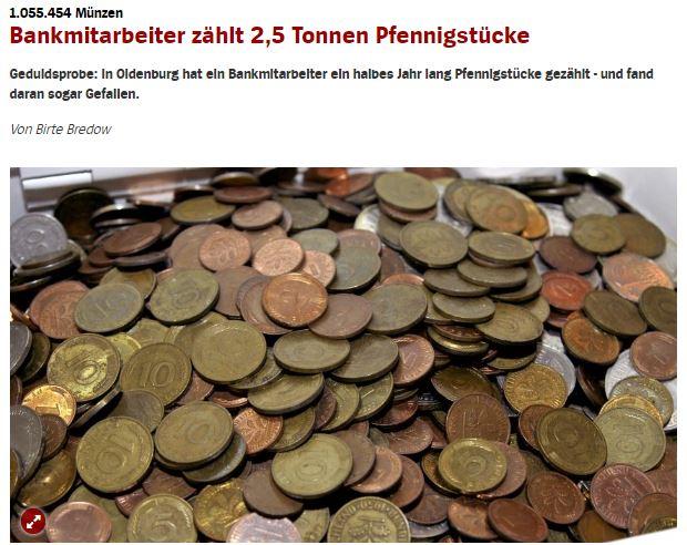 2.5トンもの硬貨、半年かけて全てが数えられる(画像は『SPIEGEL ONLINE 2017年12月15日付「Bankmitarbeiter zählt 2,5 Tonnen Pfennigstücke」』のスクリーンショット)